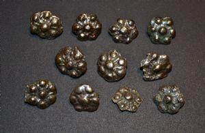 A scarce and unusual group of 11 x Medieval Silvered Bronze decorative belt studs found near Scarborough, North Yorkshire SOLD